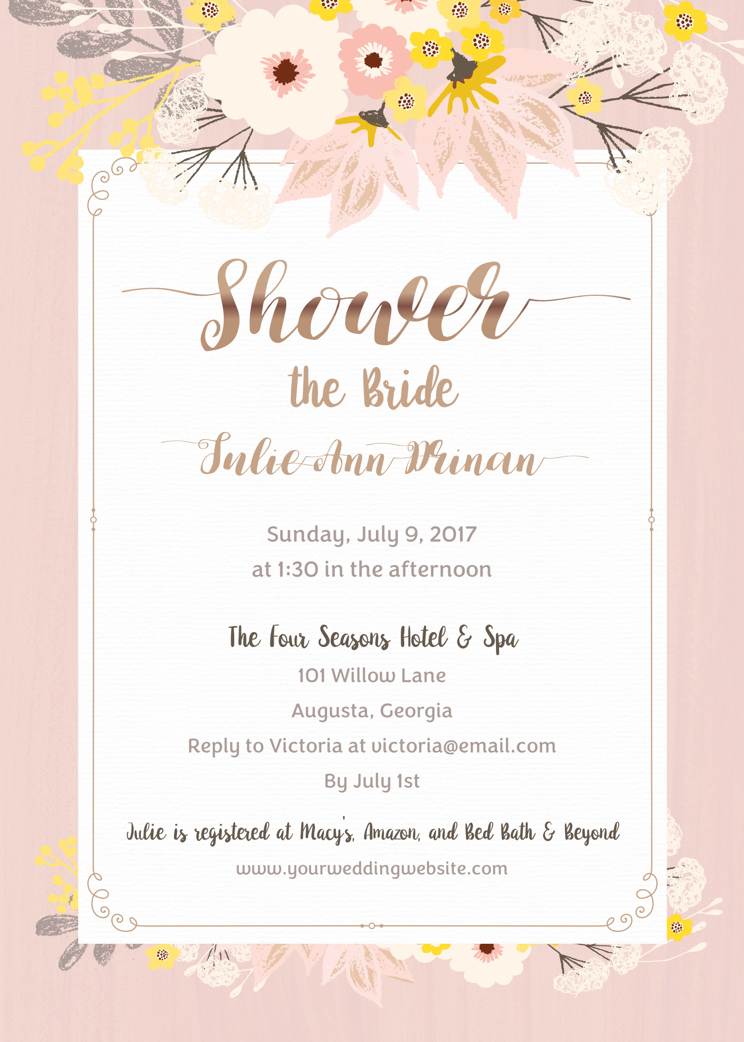Floral Blush and Gold Bridal Shower Invitation